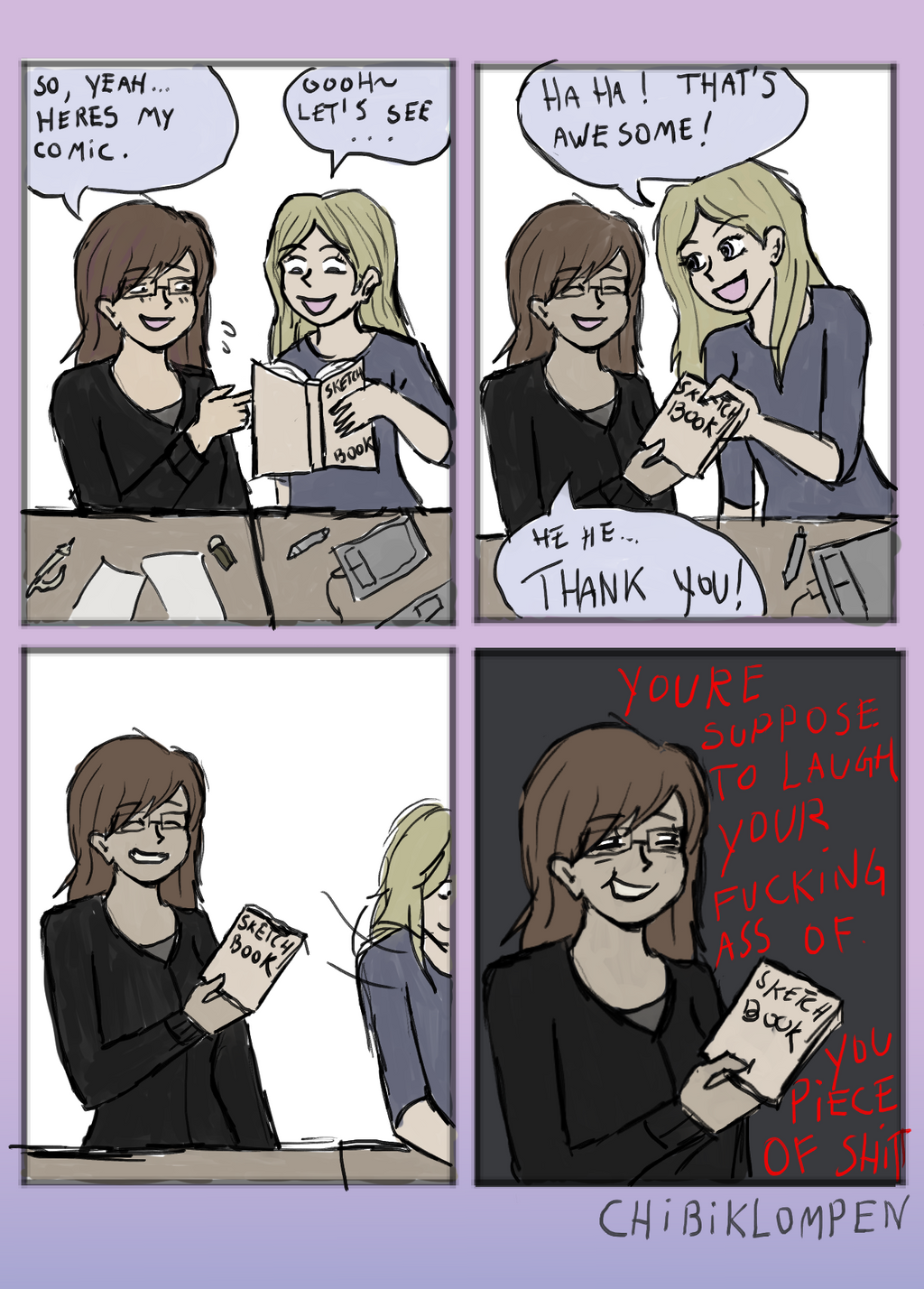 Showing your comic to people like by Chibiklompen