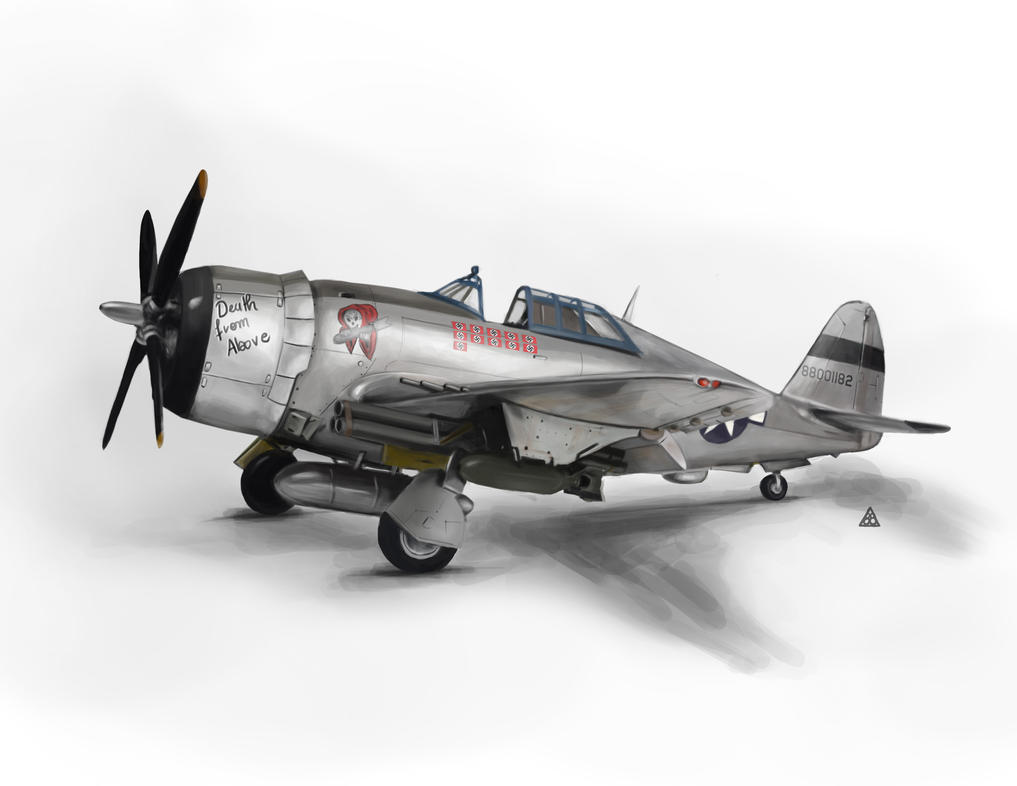 P47 Thunderbolt Digital Painting by angelsd