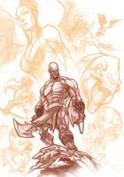 God of War . pencils by thekidKaos