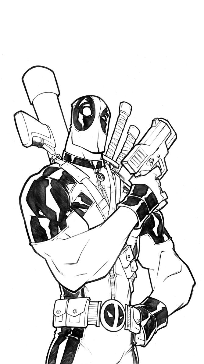 Line Art Comic : Deadpool lines hd by thekidkaos on deviantart
