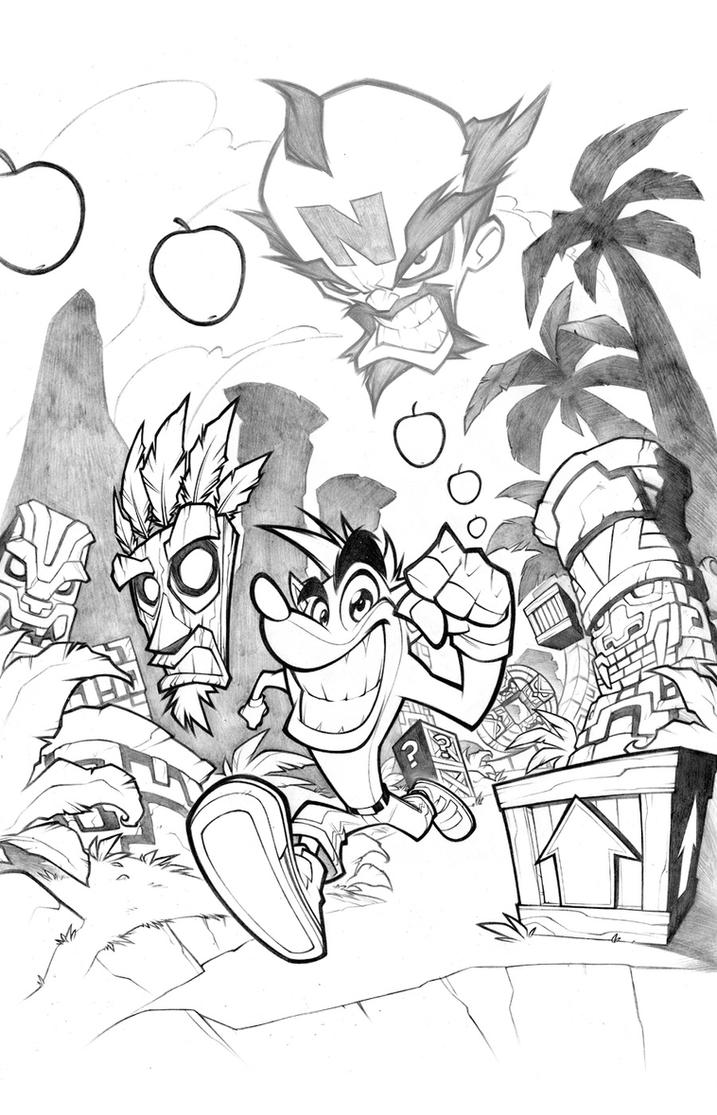 Crash bandicoot lines by thekidkaos on deviantart for Crash bandicoot coloring pages