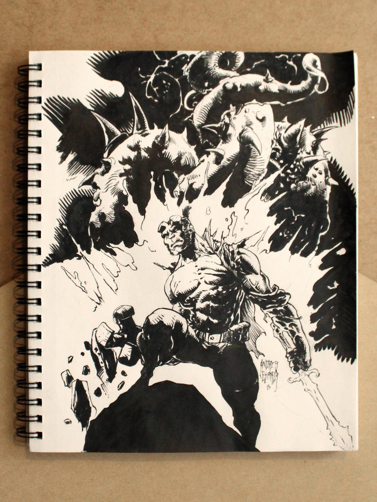 Hellboy inktober by acidkoolaid