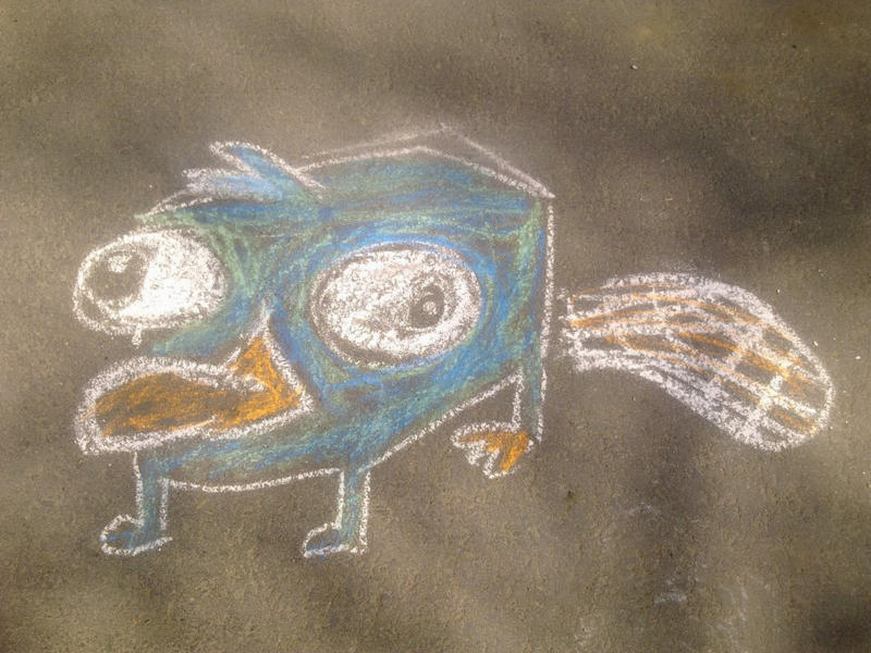 Perry the Platypus in chalk by sfxdx