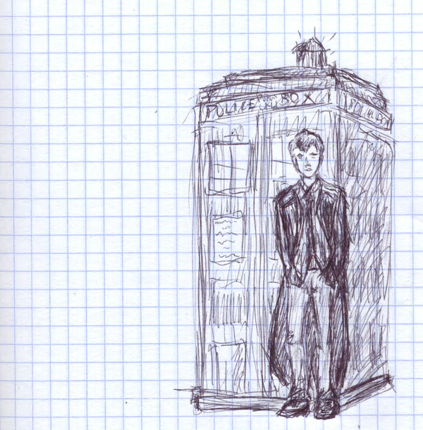one  Doctor and Tardis drawing by sfxdx