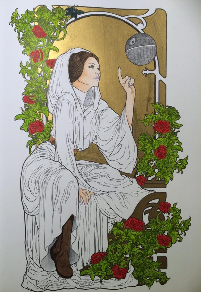 Star Wars art therapy colouring ~ Princess Leia by A-Legends-Prophet