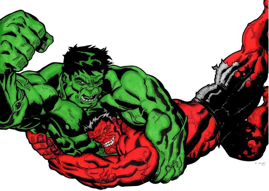Green Hulk vs. Red Hulk by ashedgreg on DeviantArt