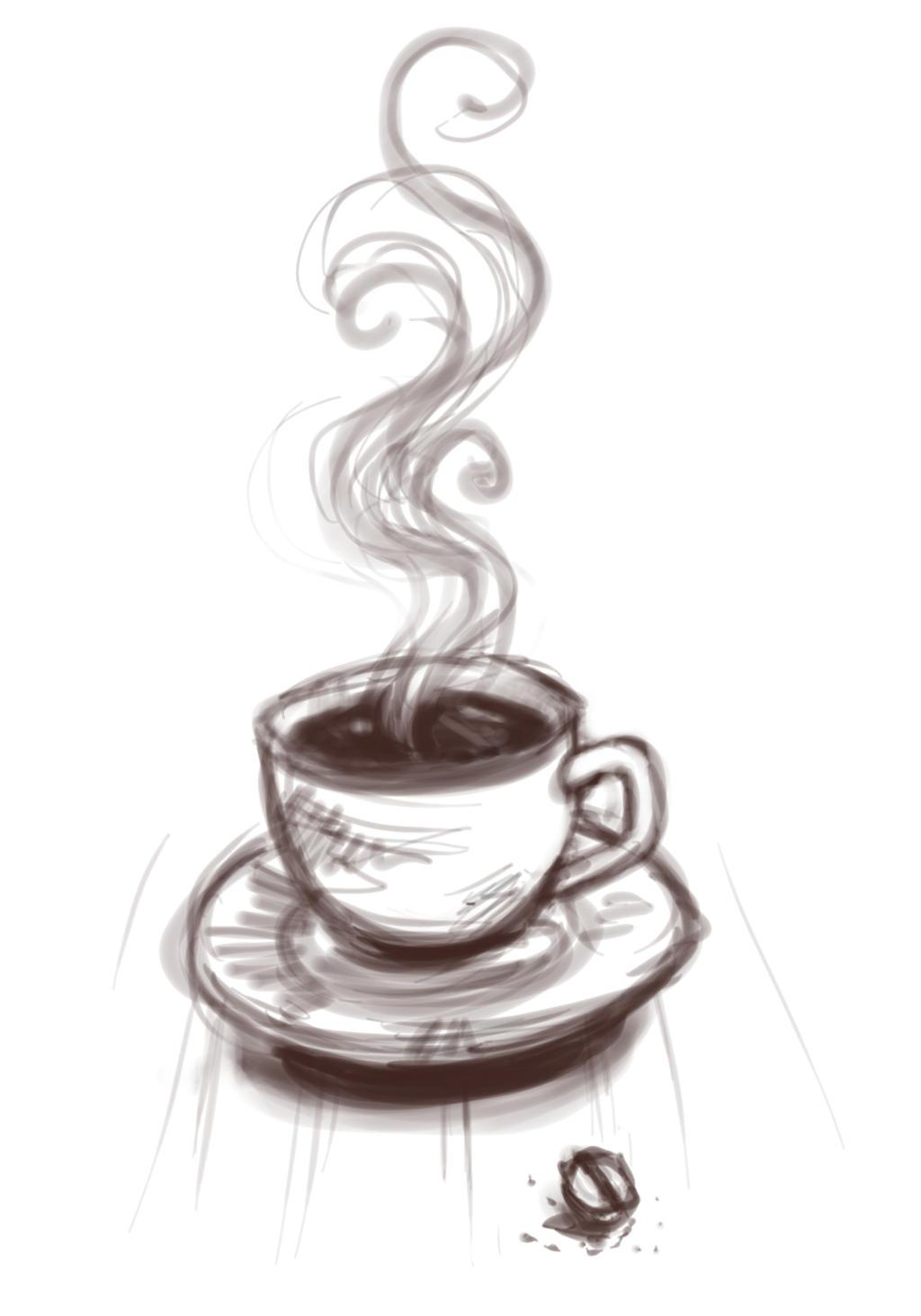 Рисунок с кофе, падающего снега