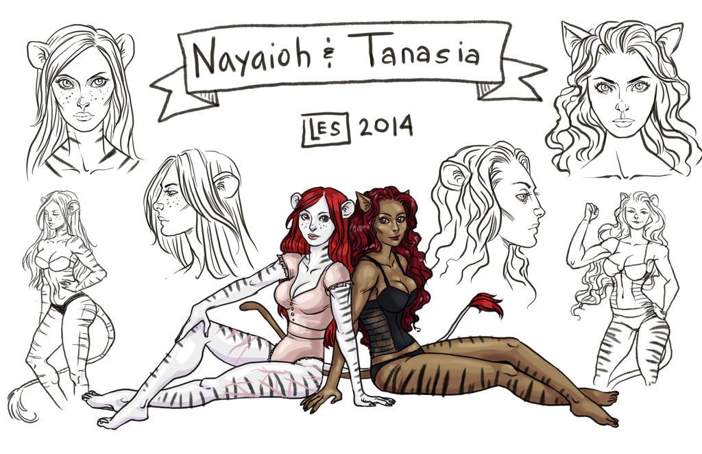 Sketch Page Nayaioh and Tanasia by BlackBirdInk