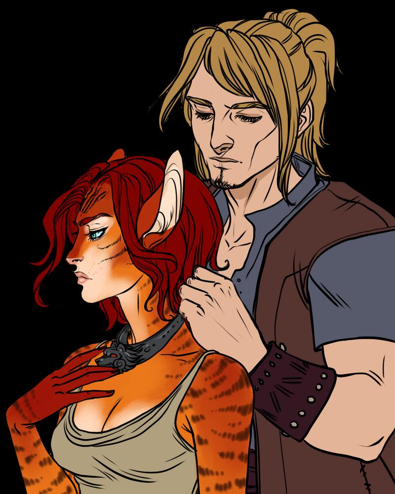 Couples Sketch__Trygve and Aelia by BlackBirdInk