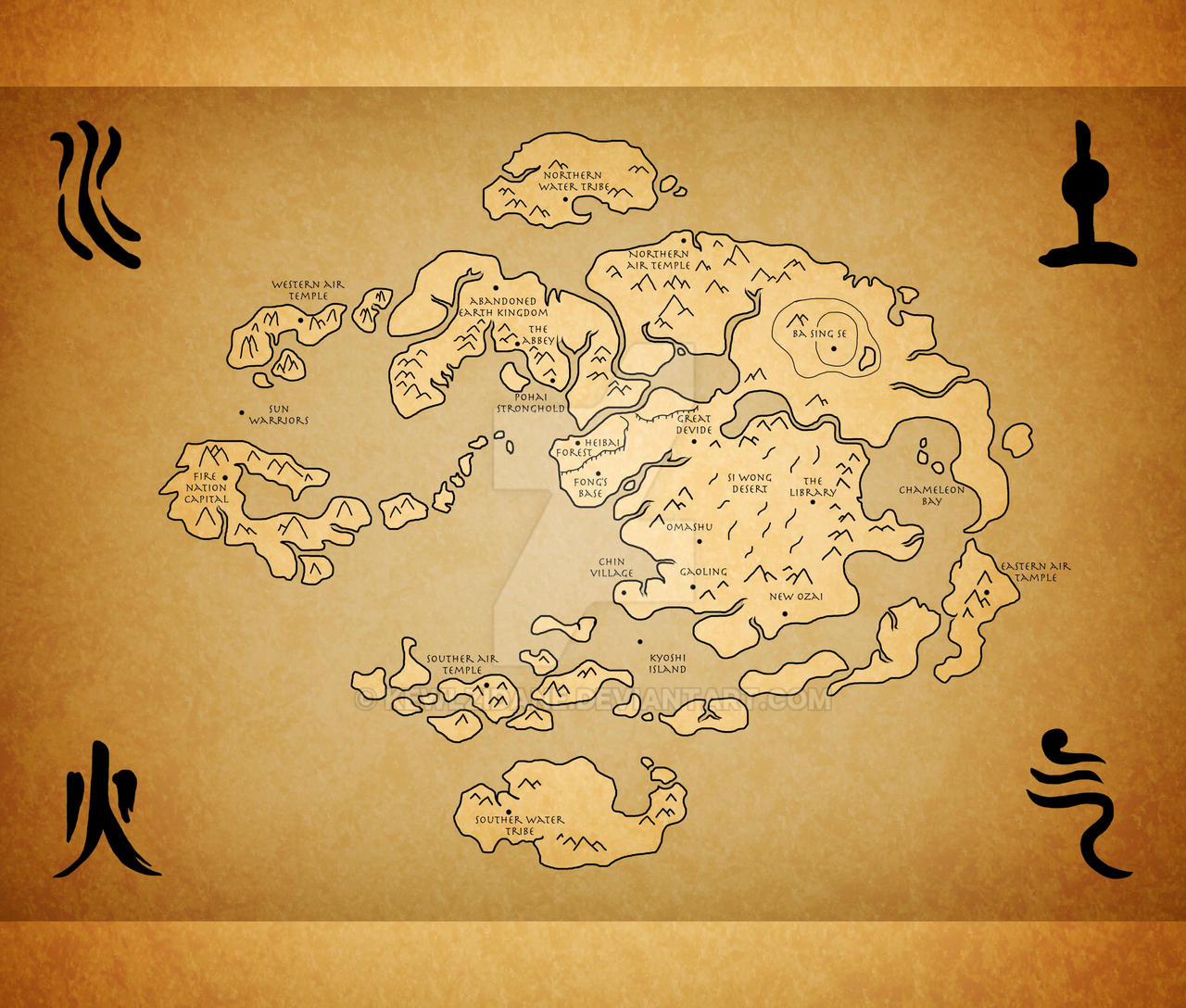Avatar Last Airbender World map by Kewlzidane on DeviantArt
