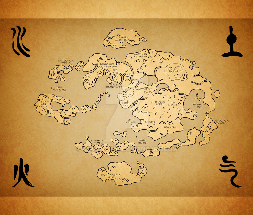 Avatar Last Airbender World Map By Kewlzidane