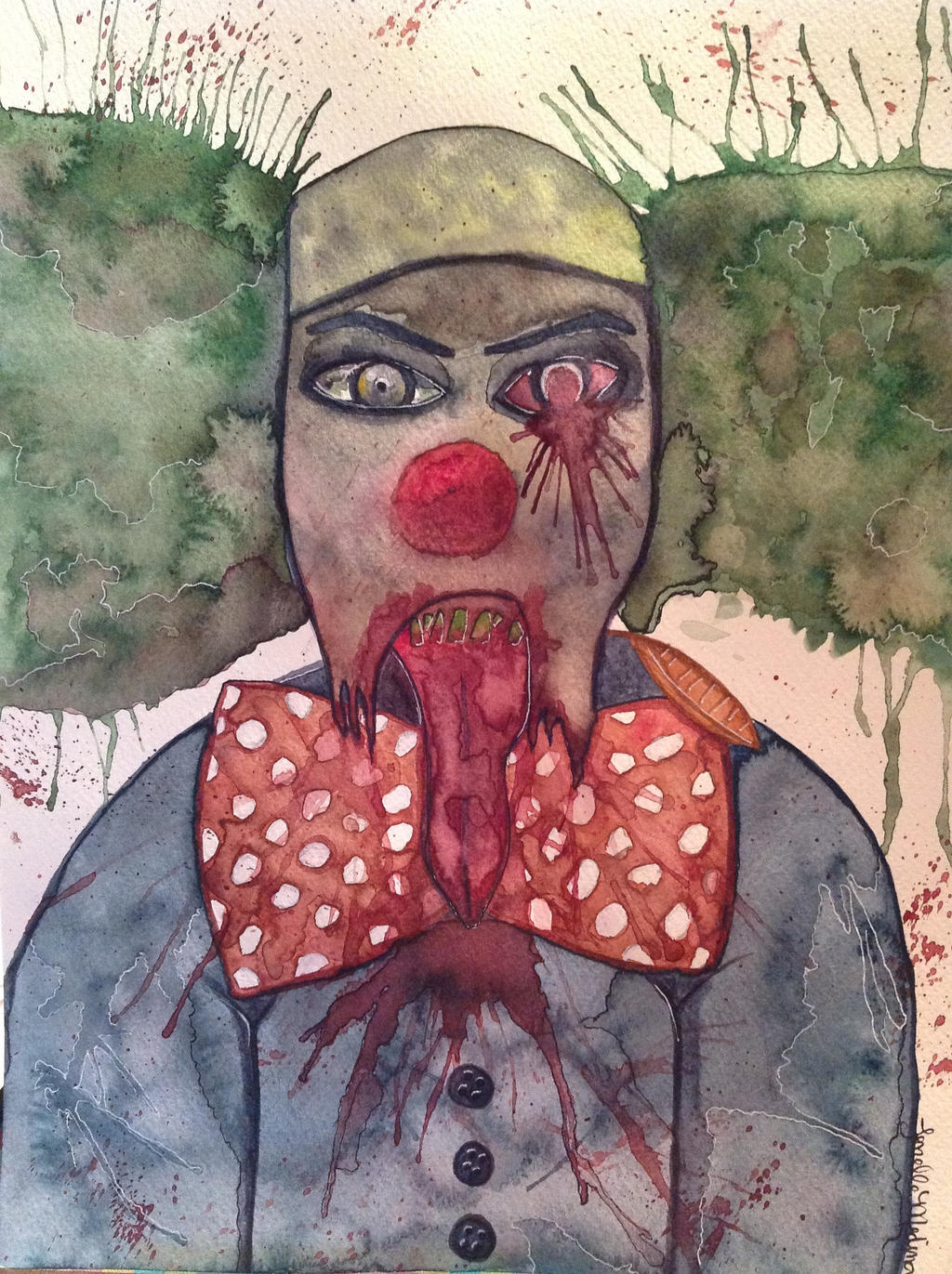 Zombie Clown - watercolor painting by kismetdivineZombie Watercolor Painting