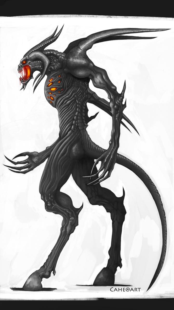 Demon Grayscale. by BlackAriock