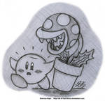 Sketch - Kirby and Piranha Plant by AK-Is-Harmless