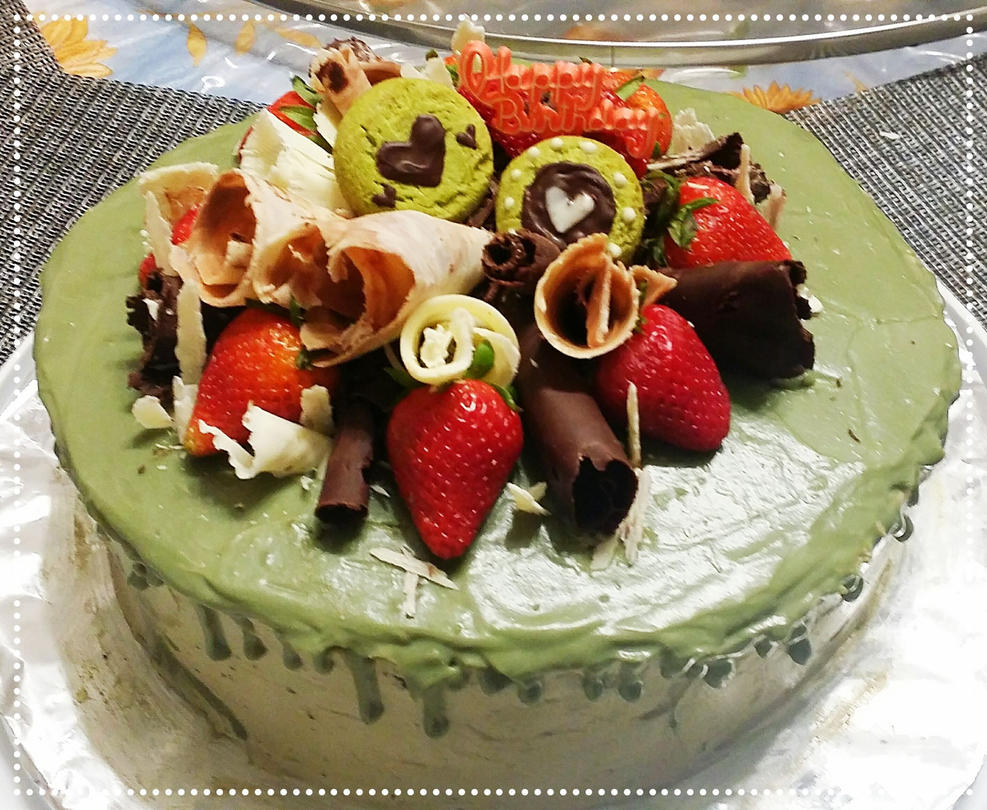 Mom's matcha chocolate birthday cake 2017 by xHoshaxBerizx
