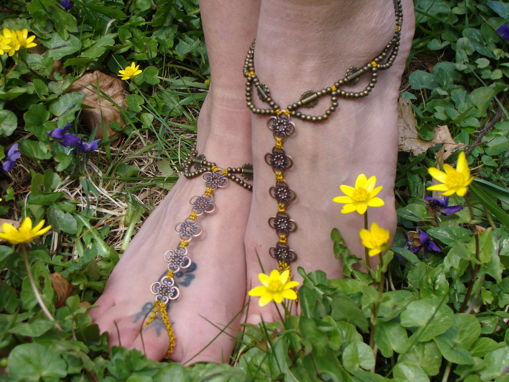 Pair of Macrame Barefoot Sandals by noisypixie