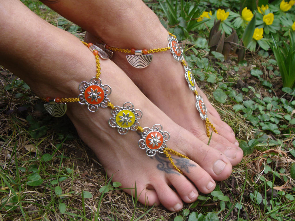 Macrame Barefoot Sandals, Enamel flowers by noisypixie