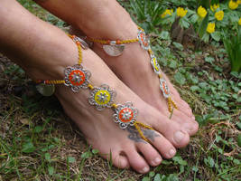 Macrame Barefoot Sandals, Enamel flowers by noisypixie