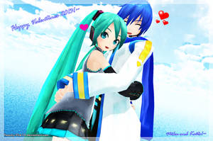 Happy Valentines 2013!~Miku and Kaito by Peachy-Pink10