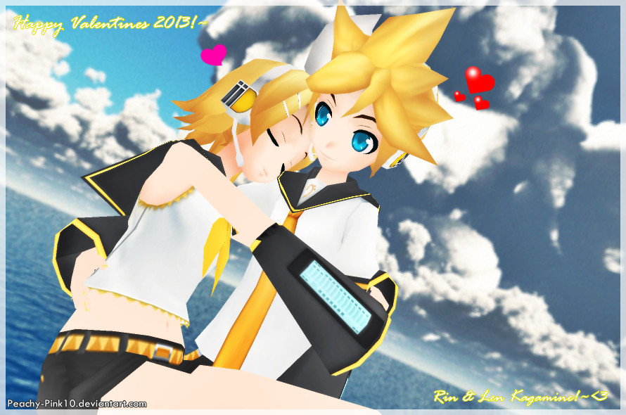 Happy Valentines 2013!~Rin and Len PD by Peachy-Pink10