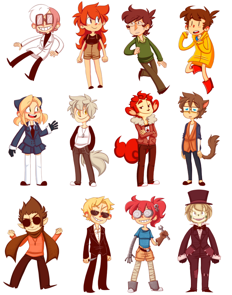 Character Design Deviantart : Original character stickers by nnkcomicrelief on deviantart