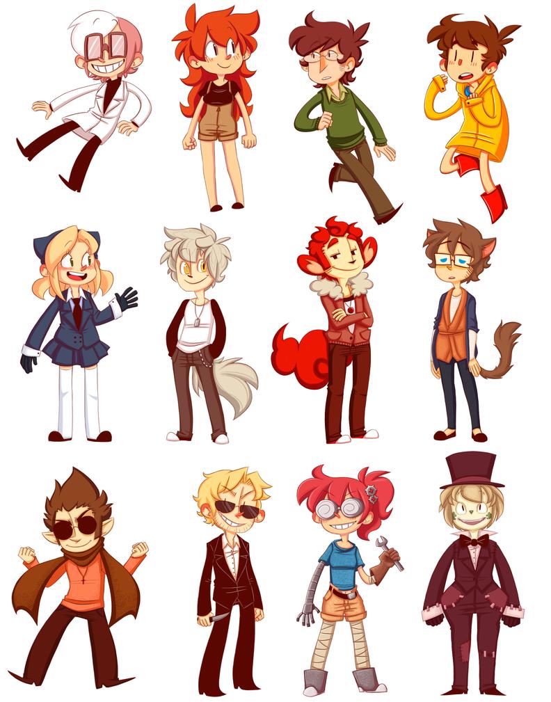 original character stickers by nnkcomicrelief on deviantart