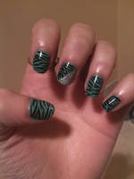 Torquoise,Teal + Silver Zebra by a5phyxiate