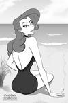Mattie At The Beach - CARTOON PIN-UP by JordoDeskjockey