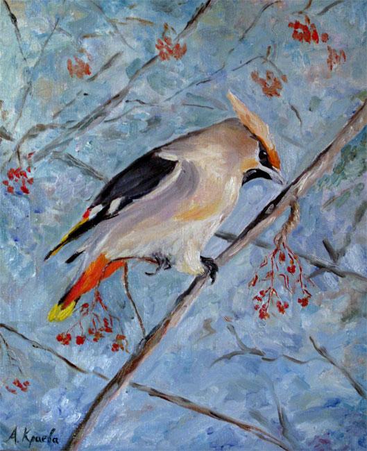 Triptych Winter birds: waxbird by Alekra81