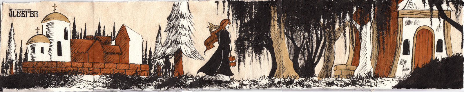 The Witch and the Sleeper - Accordian Illustration by sequentialnerd
