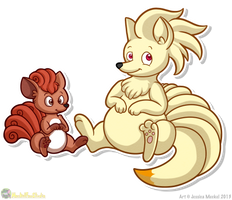 Chubby Vulpix and Ninetales by MeckelFoxStudio