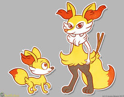 Fennekin and Braxian by MeckelFoxStudio