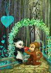 Panda and Monkey by madeincg