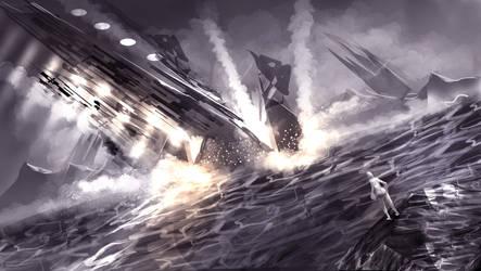 Spaceship crash in the sea by madeincg