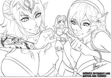Tiki, Corrin and Robin (line art) by lAffinityl