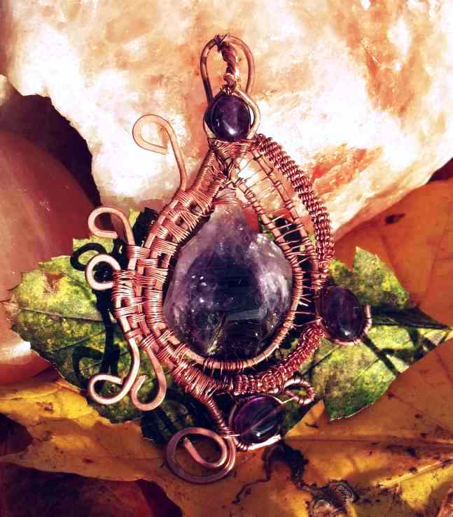 Wire Wrapped Raw Amethyst Pendant By Catscendence On