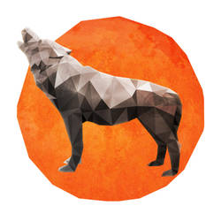 Low Poly Howling Wolf