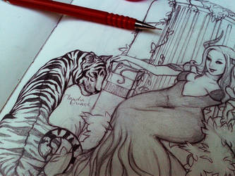 tiger throne detail by chockoladien
