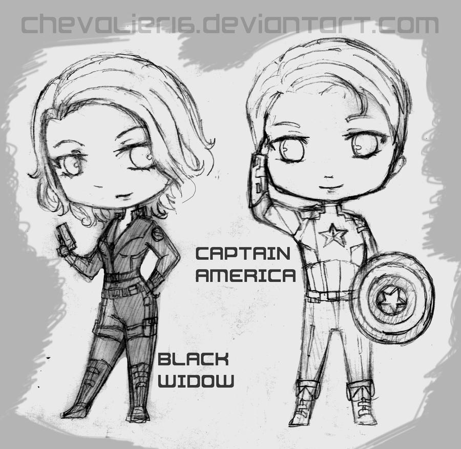 Download Avengers Coloring Pages Here Blackwidow: Avengers Chibis WIP: BlackWidow And CaptainAmerica By