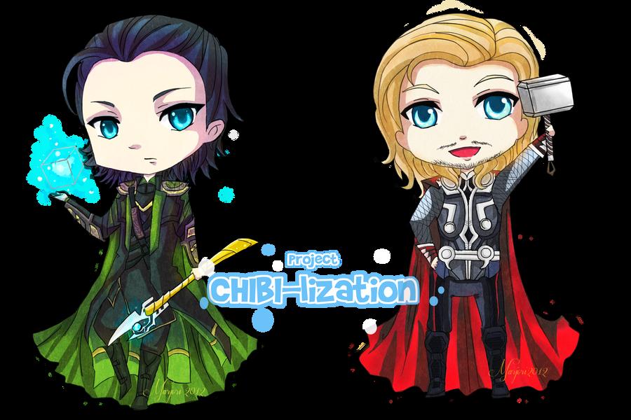 CHIBI-lization: Loki and Thor by chevalier16 on DeviantArt