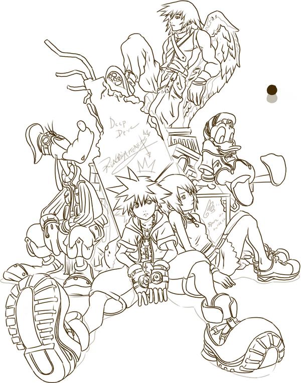 Kingdom Hearts Lineart : Kingdom hearts lineart by andu ne on deviantart