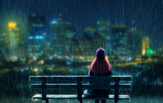 .Rainy night.