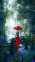 Miko Girl In The Rain by Quacx3