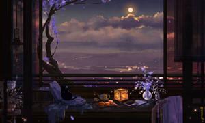Autumn night with full moon