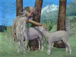Heidi girl transformation - anthro sheep taur TF 3 by Cyberalbi