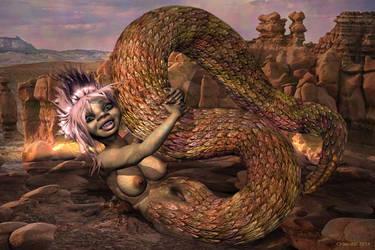 Nude lamia girl or cute naga TF 5 by Cyberalbi