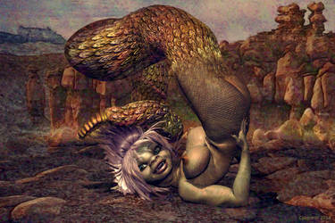 Nude girl transformation to naga or lamia TF 4 by Cyberalbi