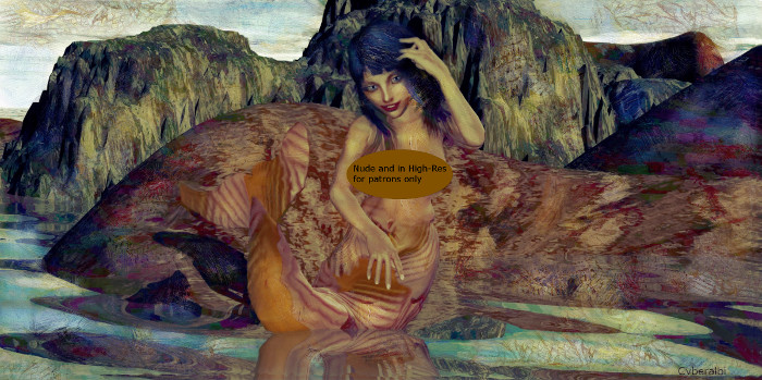 Nico Robin nude mermaid by Cyberalbi