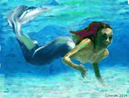 Mergirl swimming undersea by Cyberalbi