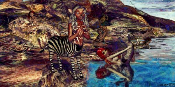 Anthro zebra girl centaur or zebragirl centauress by Cyberalbi
